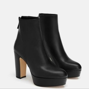 Zara Platform Black Leather Ankle Boots